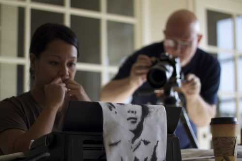 trinh-at-typewriter-blurry-david-filming
