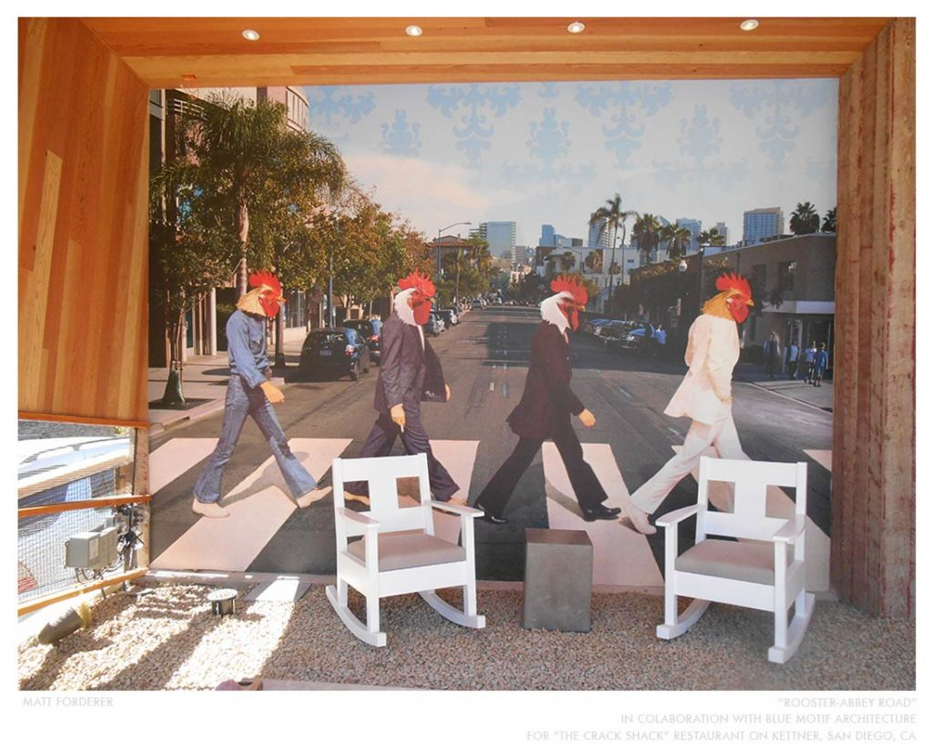 """Rooster-Abbey Road,"" in collaboration with Blue Motif Architecture at Crack Shack"
