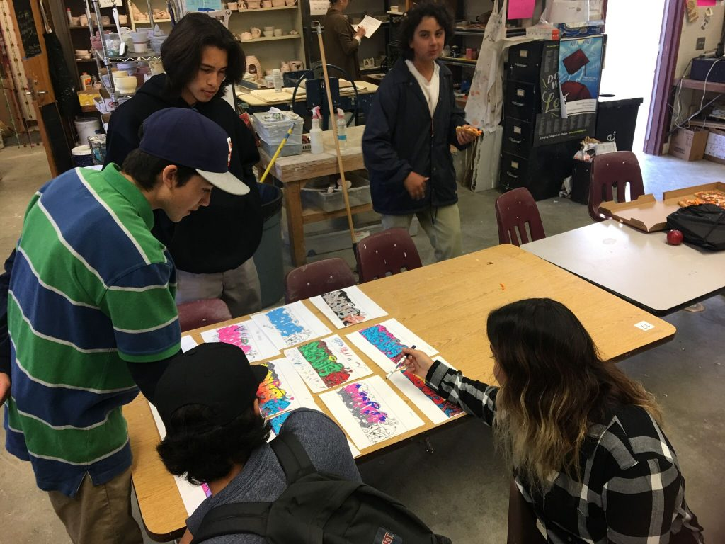 Students learning letter styling